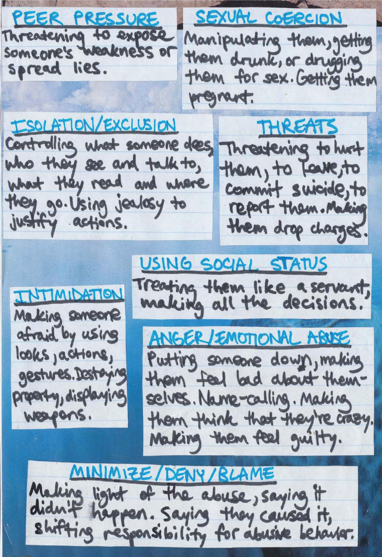 A page from the Crushin' It curriculum used in schools. Handwritten descriptions of abusive tactics in dating relationships.