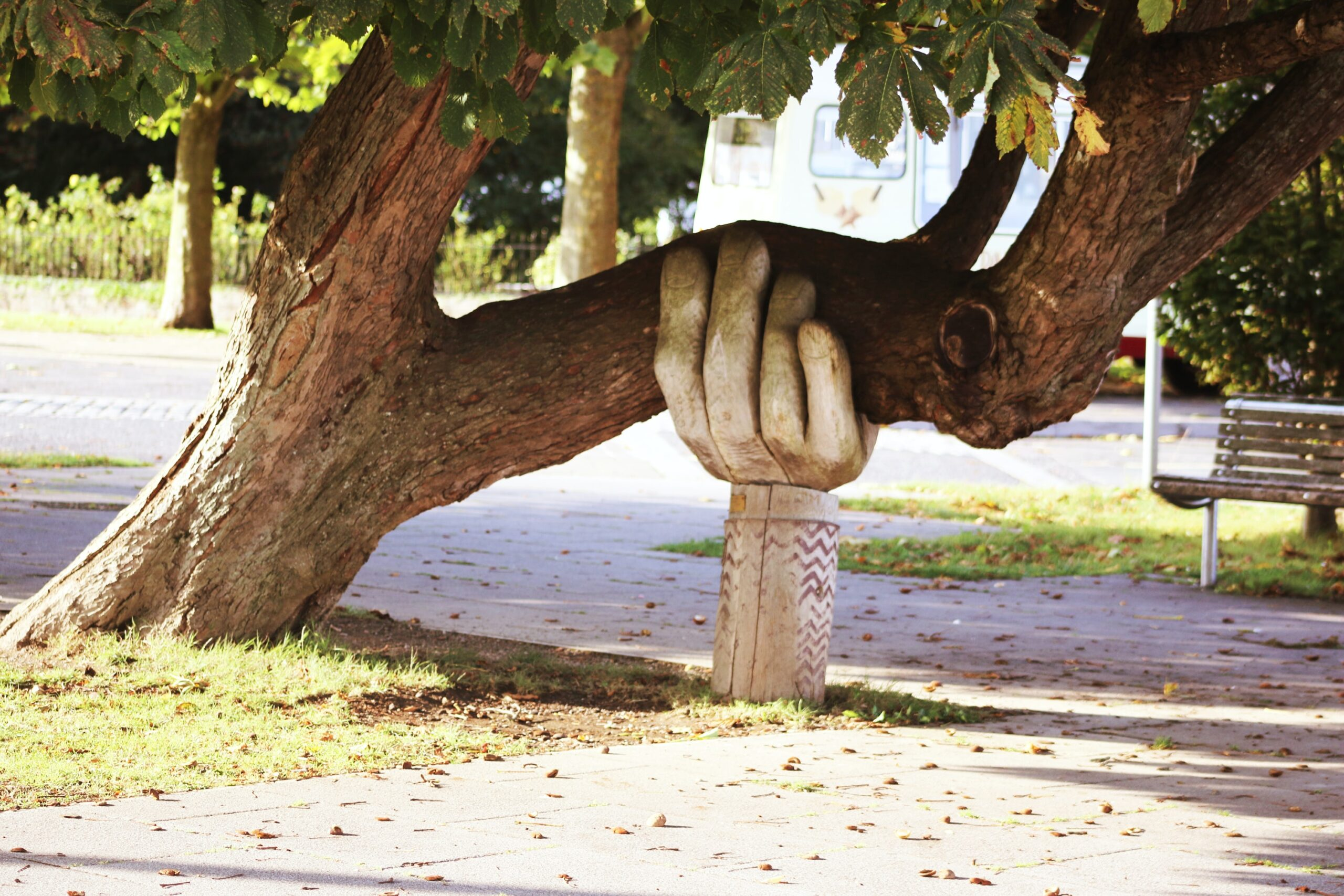 A large wooden hand holds up a tree that is leaning too close to the ground.